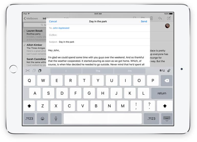 iOS 9 iPad Keyboard