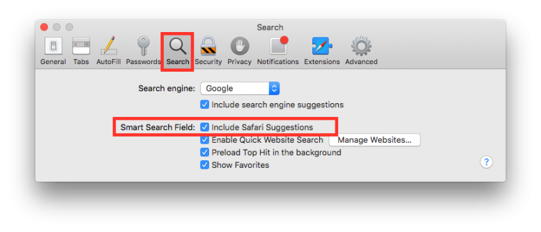 how to clear search bar suggestions