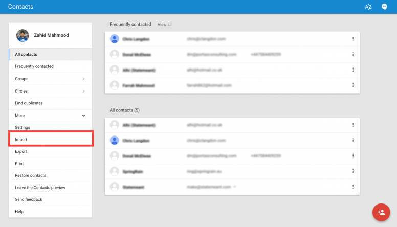 Google Contacts Import