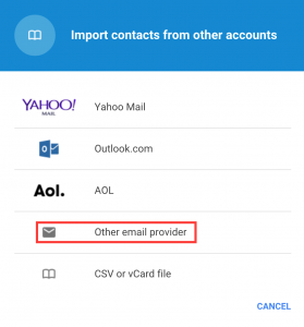 Google Contacts Import Account Provider