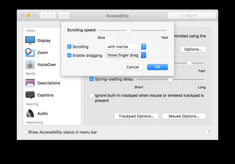 OS X El Capitan Three Finger Drag