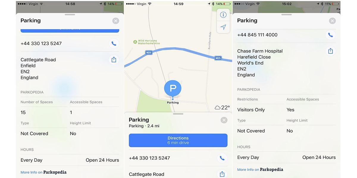Apple Maps Parkopedia