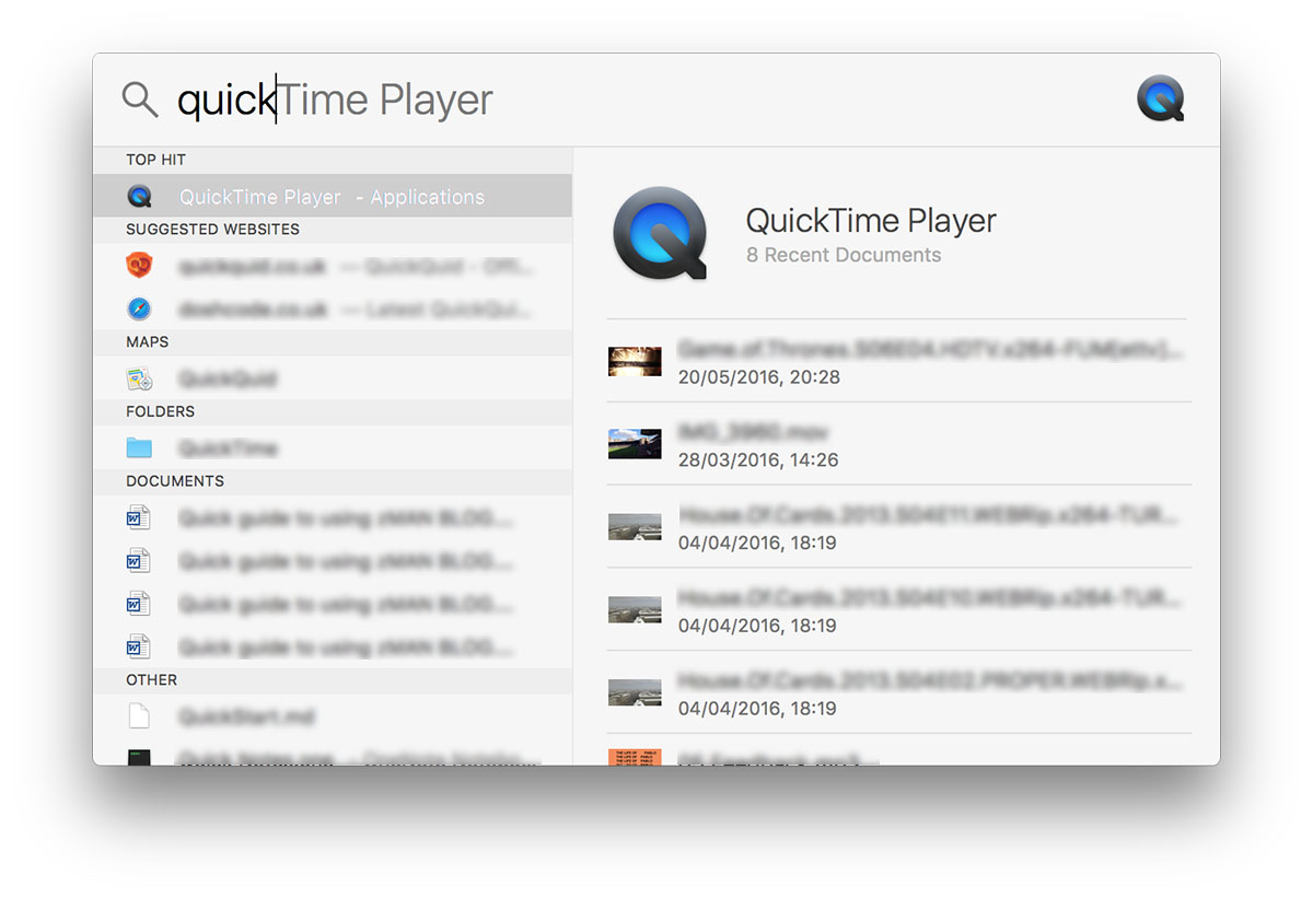 Apple Spotlight Search QuickTime Player