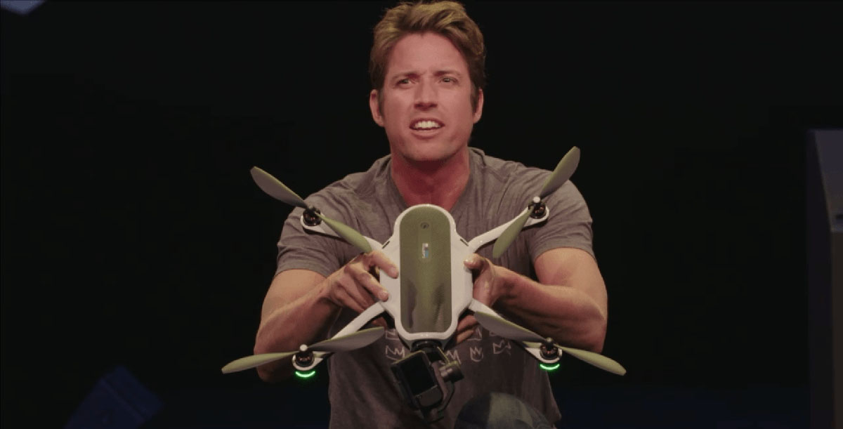 Nick Woodman, GoPro CEO, enthusiastically unveils the GoPro Karma only days before the DJI Mavic Pro steals the limelight.